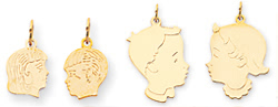 gold engraved girl head charms and boy head charms with faces
