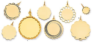 gold engraved fancy circle charms scalloped edges engrave gold circles