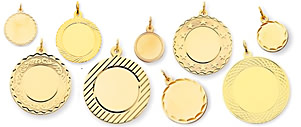 gold engraved fancy circle charms engrave gold circles