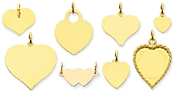 gold engraved heart charms engrave gold hearts