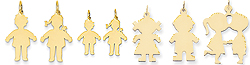 14k gold paperdoll kids charms