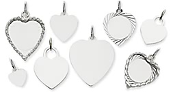 white gold engraved heart charms